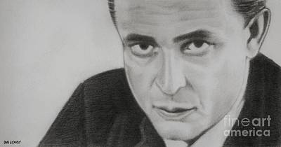 Johnny Cash Drawing - Johnny Cash by Dan Lockaby
