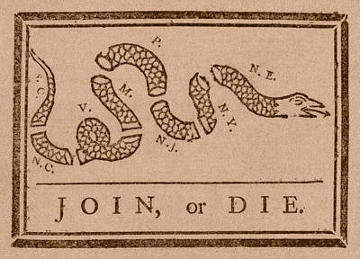 Franklin Drawing - Join Or Die by War Is Hell Store