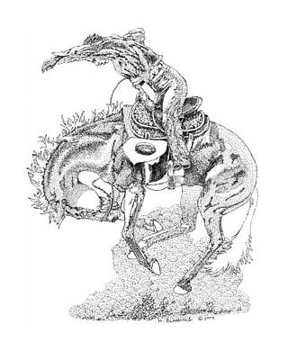 Horse Drawing - Just A Few More Bucks by Hugh Blanding