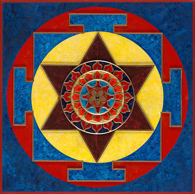 Kameshvari Yantra Blessings Sacred 3d High Relief Artistically Crafted Wooden Yantra  23in X 23in Original by Peter Clemens