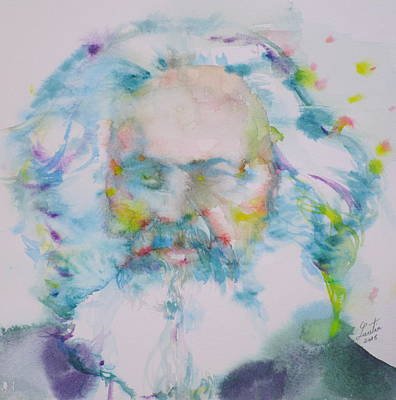 Karl Marx - Watercolor Portrait Print by Fabrizio Cassetta