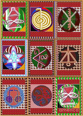 Merchandise Mixed Media - Karuna Reiki Symbol Art Buy Posters Greetings Pillows Duvet Covers Phone Cases Tote Bags Download Jp by Navin Joshi