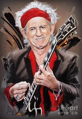 Keith Richards Pastel - Keith Richards by Melanie D