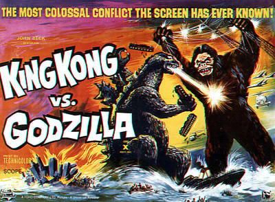 1960s Movies Photograph - King Kong Vs. Godzilla, Poster Art by Everett