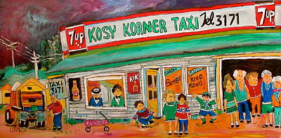 Seven Up Sign Painting - Kosy Korner Taxi Plage Laval by Michael Litvack