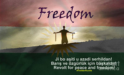 Kurdish Peace And Freedom Poster Print by Celestial Images