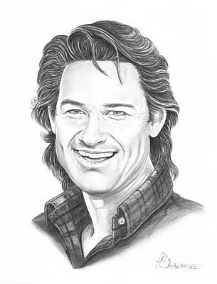 Famous People Drawing - Kurt Russell by Murphy Elliott