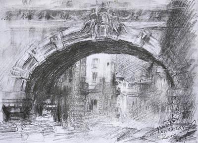Buildings Drawing - L-arco Di Via Tagliamento Rome by Ylli Haruni