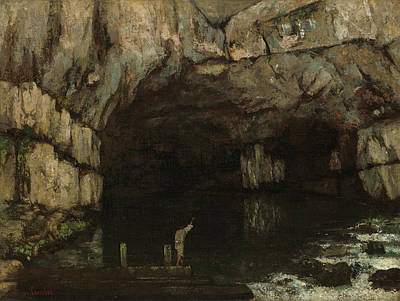 Waterfall Painting - La Grotte De La Loue by Gustave Courbet