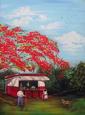 Fruit Stand Painting - La Tiendita by Gloria E Barreto-Rodriguez