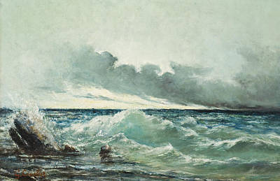 Storm Clouds Painting - La Vague by Gustave Courbet