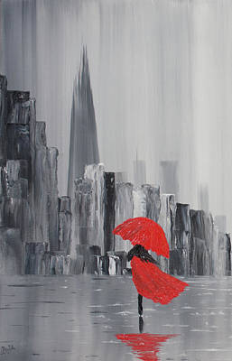 Shards Painting - Lady In Red Dress And Red Umbrella Walking Alone Through A Storm Lashed London Street To The Shard by Russell Collins