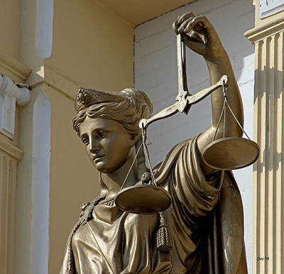 County Courthouse Statue Painting - Lady Justice, Virginia City, Nevada by Day Williams