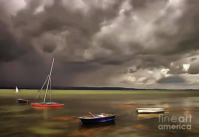 Water Filter Painting - Lake Balaton Painting by Odon Czintos
