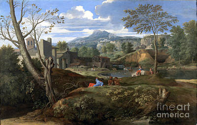 Nicolas Poussin Painting - Landscape With Buildings by Celestial Images