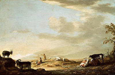Dutch Shepherd Painting - Landscape With Cattle And Figures by Aelbert Cuyp