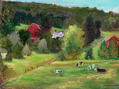 Landscape With Cows Original by Ethel Vrana