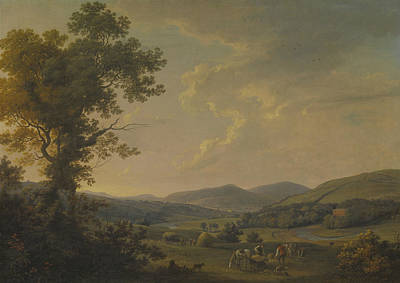 Distant Mountains Painting - Landscape With Haymakers And A Distant View Of A Georgian House by William Ashford