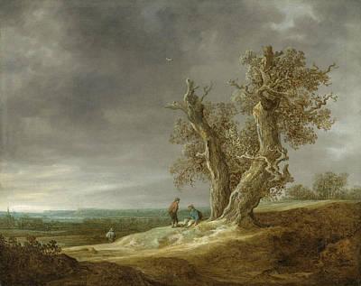Dutch Painting - Landscape With Two Oak by Jan van Goyen