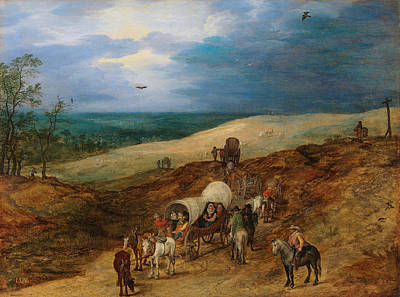 Agriculture Painting - Landscape With Wagons by Jan Brueghel the Elder
