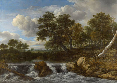 Cascade Painting - Landscape With Waterfall by Jacob van Ruisdael