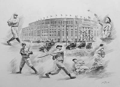 Yankee Stadium Drawing - Legend Of Yankees by Mei  He