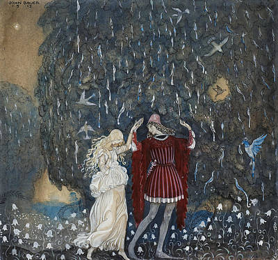 Fairy Tale Art Painting - Lena Dances With The Knight by John Bauer
