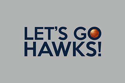Basketball Painting - Let's Go Hawks by Florian Rodarte