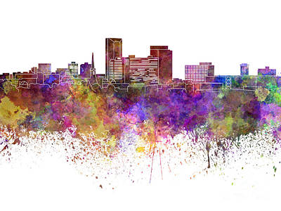 Kentucky Painting - Lexington Skyline In Watercolor Background by Pablo Romero