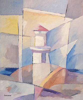 Handpainted Painting - Lighthouse Abstraction by Lutz Baar