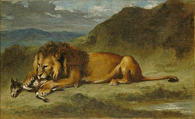 Painting - Lion Devouring A Goat by Eugene Delacroix