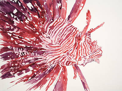 Sealife Art Painting - Lionfish by Tanya L Haynes - Printscapes