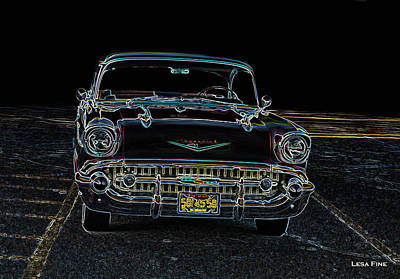 Transportation Digital Art - 57' Chevy  Neon Art Classic  Cars by Lesa Fine