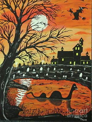 Haunted House Painting - Loch Ness Monster This  Halloween by Jeffrey Koss