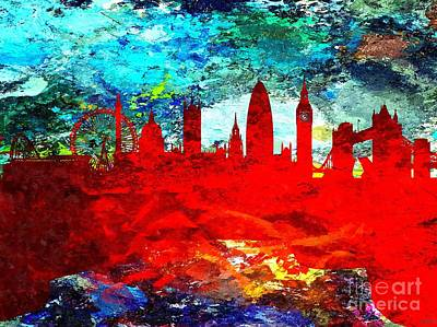 London Skyline Mixed Media - London Grunge by Daniel Janda