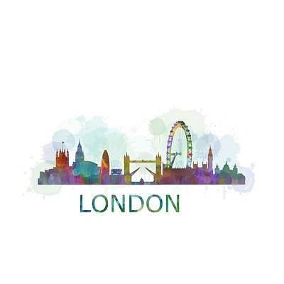 London Uk Skyline Hq Watercolor Original by HQ Photo