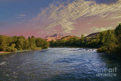 Looking Up The Payette River Print by Robert Bales