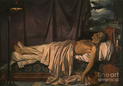 Bed Painting - Lord Byron On His Death-bed by Celestial Images