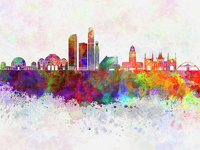 Los Angeles Skyline Painting - Los Angeles Skyline In Watercolor Background by Pablo Romero