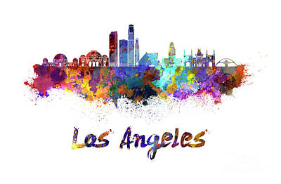 Los Angeles Skyline Painting - Los Angeles Skyline In Watercolor by Pablo Romero