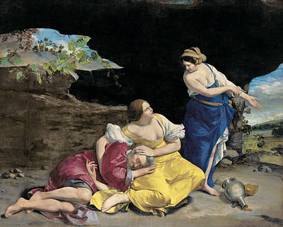 Mannerism Painting - Lot And His Daughters by Orazio Gentileschi