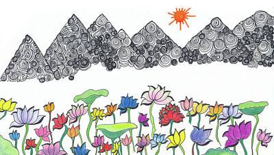 Lotus Mountain Print by Heart Art