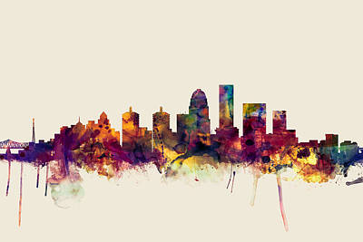 Cityscape Digital Art - Louisville Kentucky City Skyline by Michael Tompsett