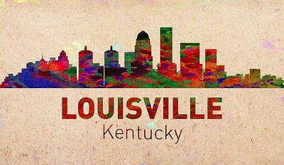 United States Digital Art - Louisville Skyline - Usa City by Michael Vicin