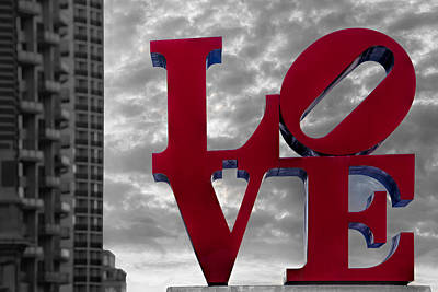 February 14th Photograph - Love Park Bw by Susan Candelario