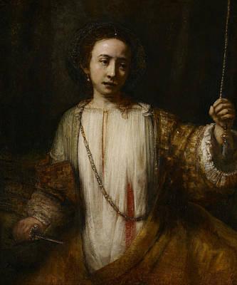Borgia Painting - Lucretia  by Rembrandt