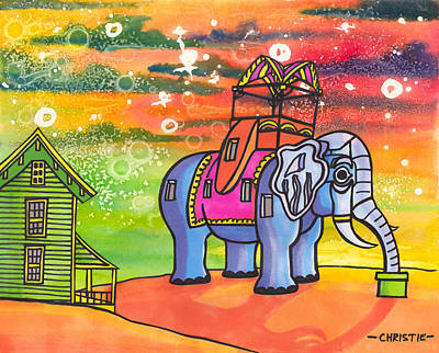 Elephant Mixed Media - Lucy In The Sky With Diamonds by Christie Mealo