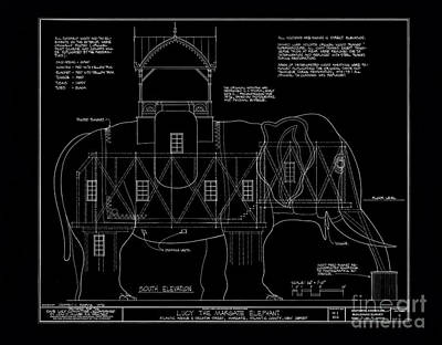 Moulin Photograph - Lucy The Elephant Building Patent Blueprint by Edward Fielding