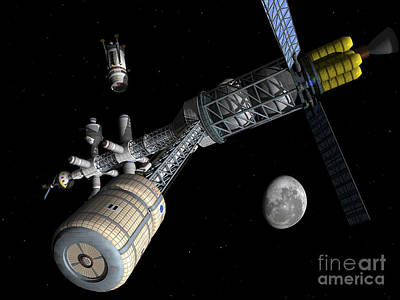 Rendition Digital Art - Lunar Cycler Centrifuge by Walter Myers