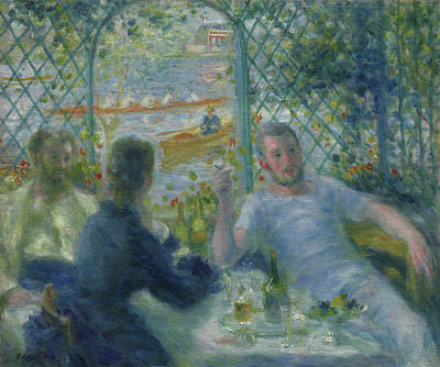 Dinner Painting - Lunch At The Restaurant Fournaise  The Rowers Lunch by Pierre Auguste Renoir